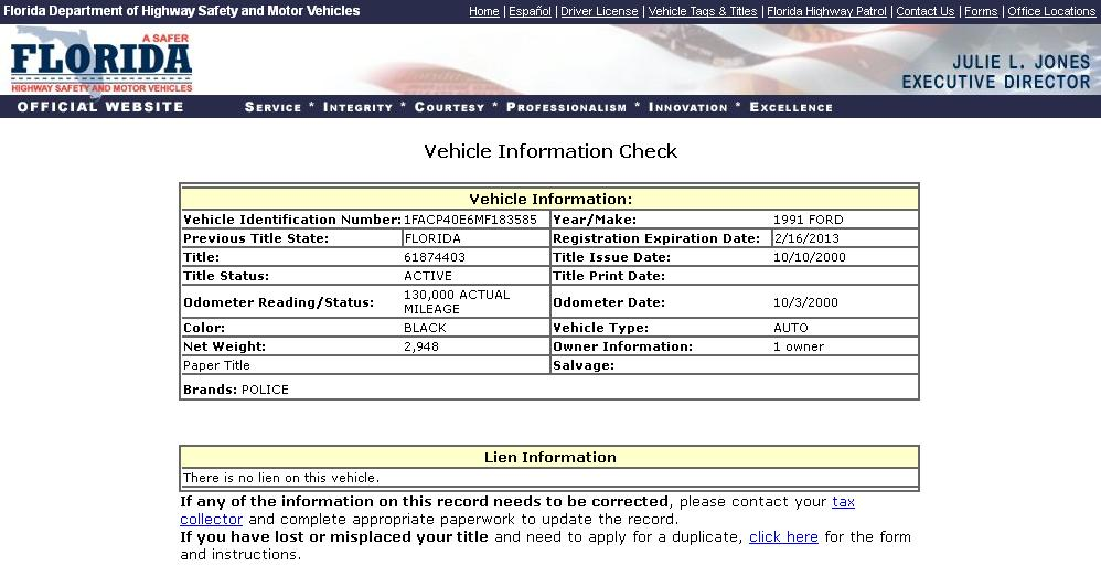 Florida department of motor vehicles titles vehicle ideas for Motor vehicle services division